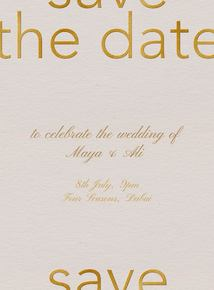 Thumb save the date gold